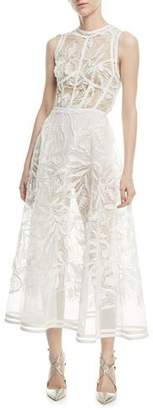 Elie Saab Sleeveless Fit-and-Flare Yarn-Embroidered Tulle Midi Cocktail Dress