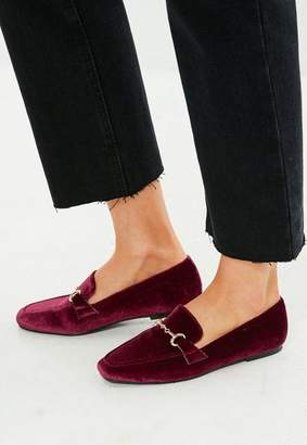Missguided Burgundy Faux Suede Loafer, Red