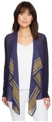MICHAEL Michael Kors Woven Pattern Mix Cardigan Women's Sweater