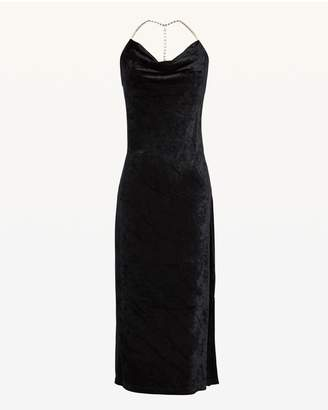Juicy Couture Crystal Straps Drapey Velour Dress