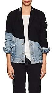Greg Lauren Women's Wool & Denim Slim Jacket-Navy