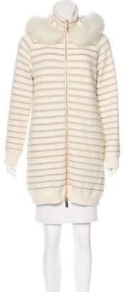 Blumarine Fox Fur-Trimmed Metallic Coat