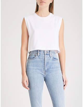 HANES X KARLA The Sleeveless Crop cotton T-shirt