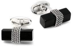 Jan Leslie Onyx & Sterling Silver Brick Cufflinks