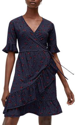 Warehouse Lips Printed Wrap Dress, Blue Pattern