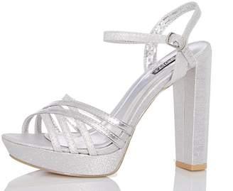 Quiz Silver Metallic Strap Heels