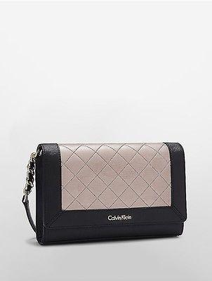 Calvin KleinCalvin Klein Womens Faux Leather Quilted Demi Bag Black/Metallic Taupe