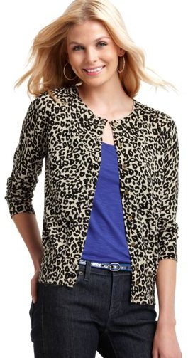 LOFT Animal Print Cotton 3/4 Sleeve Cardigan
