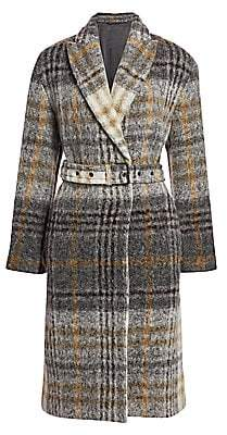 Brunello Cucinelli Women's Plaid Mohair & Wool-Blend Belted Coat