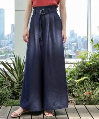 aquagirl (アクアガール) - AG by aquagirl 【新色追加】【洗える】微光沢シャンブレーワイドパンツ