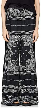 Sacai Women's Bandana-Print Wide-Leg Pants - Black