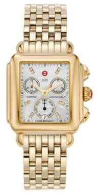 Michele Deco 18 Diamond, Mother-Of-Pearl& 18K Goldplated Stainless Steel Chronograph Bracelet Watch