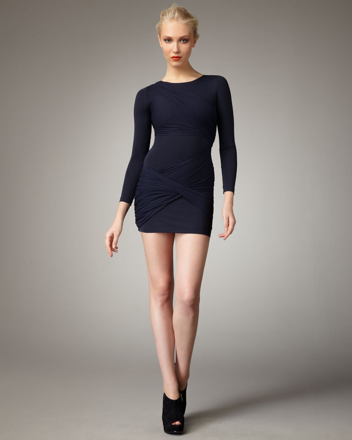 Alice + Olivia Ruched Minidress, Navy
