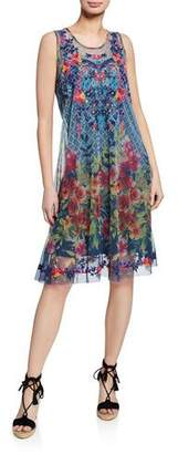 Johnny Was Rhandi Mixed-Print Sleeveless Mesh Dress w/ Embroidery
