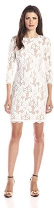 Adrianna Papell Women's 3/4 Sleeved Floral Lace Cocktail Dress with Scallopped Hemline $150 thestylecure.com