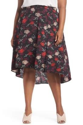 Sejour Flounce High\u002FLow Skirt (Plus Size)