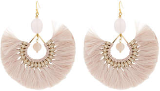 Nakamol Fringe & Beaded Drop Earrings, Cream