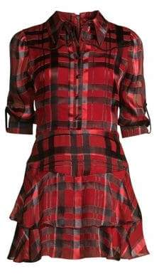 Alice + Olivia Hazeline Roll-Tab Tiered A-Line Plaid Shirt Dress