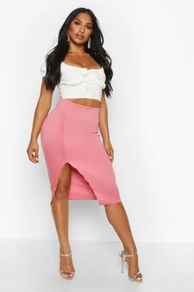 boohoo Scallop Detail Thigh Split Midi Skirt