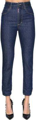 DSQUARED2 Twiggy High Waist Cropped Denim Jeans