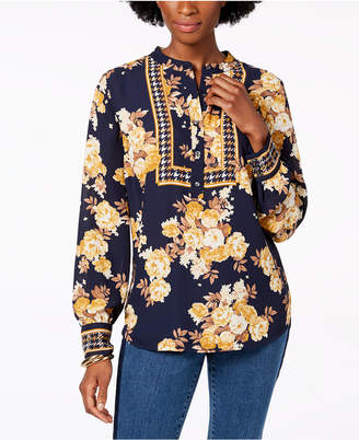Charter Club Printed Band Collar Blouse, Created for Macy's