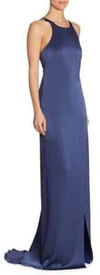 Halston Strappy Satin Halter Gown