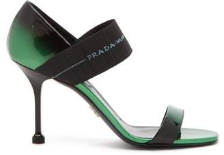 Prada Logo Strap Patent Leather Sandals - Womens - Black Green