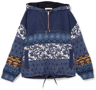 See by Chloe Jacquard-paneled Denim Hooded Top