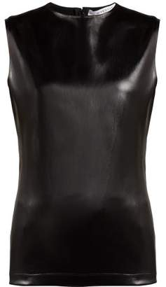 Givenchy - Coated Satin Sleeveless Top - Womens - Black