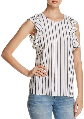 T Tahari Kelby Striped Flutter Blouse
