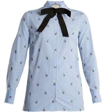Gucci Bunny fil coupé striped cotton shirt