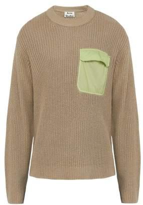 Acne Studios Karim Pocket Cotton And Linen Blend Sweater - Mens - Light Grey