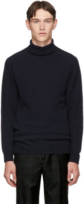 Officine Generale Navy Wool Seamless Turtleneck