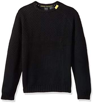 Armani Exchange A|X Men's Textured Knit Sweater With Colored Collar Detail