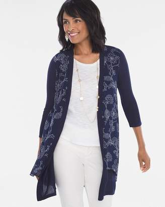 Floral Woven-Front Cardigan