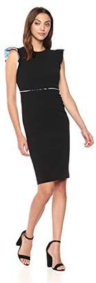 Calvin Klein Women's Solid Sheath with Ruffle Cap Sleeve Dress