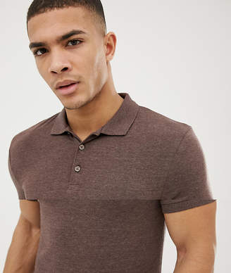 Asos DESIGN muscle fit jersey polo in brown