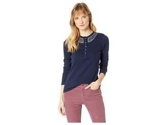 Chaps Cotton Slub 1X1 Rib Long Sleeve Knit Women's Clothing