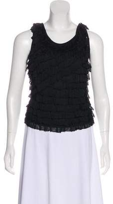Herve Leger Knit Ruffle-Trimmed Top