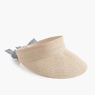J.Crew Straw visor with ribbon tie