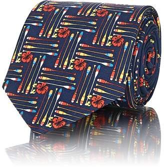 Prada Men's Floral & Paddle-Print Silk Twill Necktie