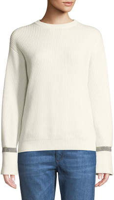 Brunello Cucinelli Crewneck Ribbed Cashmere Sweater w/ Monili Cuff