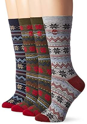 Timberland Women's Vintage Style Cotton Crew Sock 4-Pack Assorted