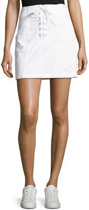 A.L.C. Kylie Laced-Front Cotton Mini Skirt