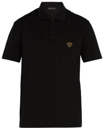 Versace Medusa Embroidered Polo Shirt - Mens - Black