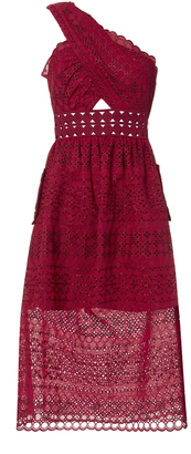 Self-Portrait One Shoulder Raspberry Midi Dress $545 thestylecure.com