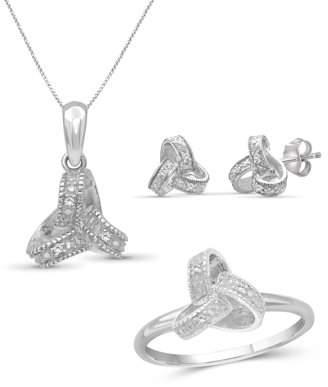 Jewelersclub JewelersClub White Diamond Accent Sterling Silver 3-Piece Love Knot Jewelry Set