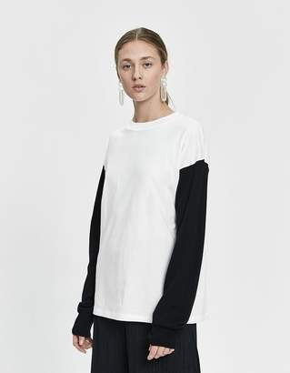 MM6 MAISON MARGIELA Long Sleeve Half-Knit Logo Tee