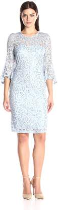 Marina Women's Bell Sleeve Sequin Lace Dress