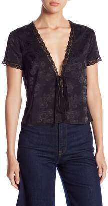 Honeybelle Honey Belle Satin Lace Trim Front Tie Blouse